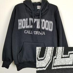 Hollywood California Glitter Graphic Hoodie Black